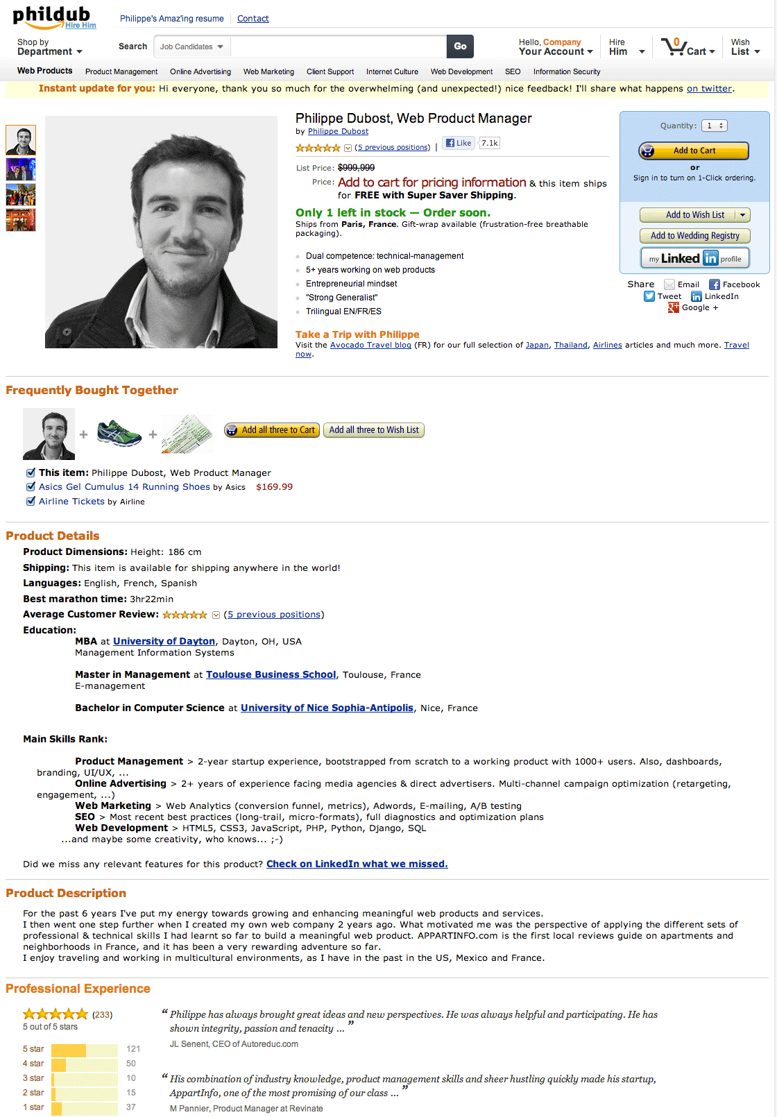 Incredible Amazon Page Resumé