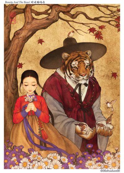 western_folktales_korean_illustration_beauty_and_the_beast
