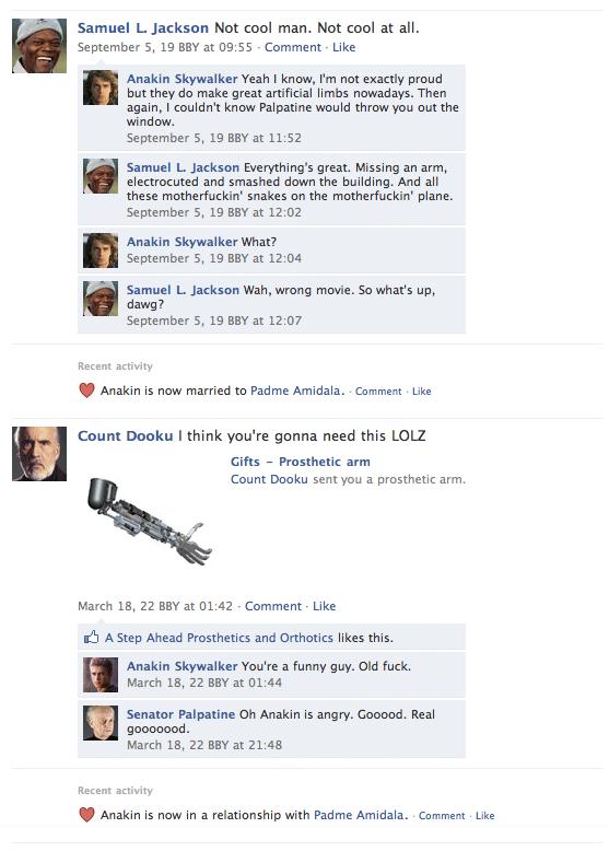 Darth Vader's Facebook Page