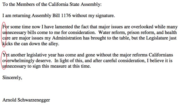 The Governator Gives California Legislature a Hidden Finger